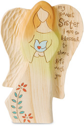 "Sister by Heavenly Woods - 7"" Angel Holding Bird"