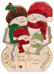 "Family by Heavenly Winter Woods - 6"" Snowman Family Figurine/Carving"