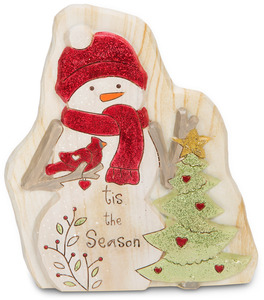 "Tis the Season by Heavenly Winter Woods - 5"" Snowman & Cardinal & Christmas Tree Figurine/Carving"