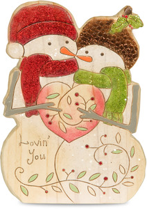"Lovin' You by Heavenly Winter Woods - 5"" Painted Snowman Couple Figurine/Carving"