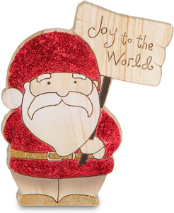 "Joy to the World by Heavenly Winter Woods - 4.5"" Painted Santa Gnome Figurine/Carving"