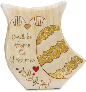 "Owl be Home by Heavenly Winter Woods - 4"" Painted Owl Figurine/Carving"