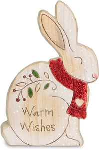"Warm Wishes by Heavenly Winter Woods - 4"" Painted Bunny Figurine/Carving"