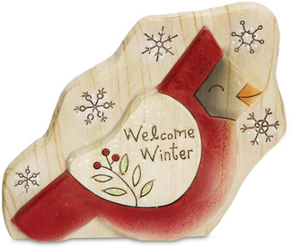 "Welcome Winter by Heavenly Winter Woods - 4.25"" Painted Cardinal Figurine/Carving"