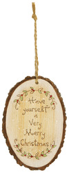 "Merry Christmas by Heavenly Winter Woods - 4.5"" Painted Oval Ornament"