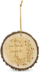 "Peace Love & Joy by Heavenly Winter Woods - 4"" Painted Round Ornament"