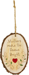 "Mother by Heavenly Winter Woods - 4.5"" Painted Oval Ornament"
