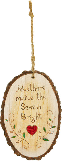 "Mother by Heavenly Winter Woods - Mother - 4.5"" Painted Oval Ornament"