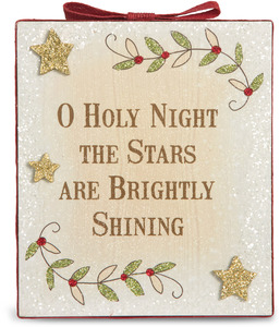 "O Holy Night by Heavenly Winter Woods - 6"" x 7"" Plaque"