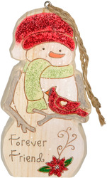 "Forever Friend by Heavenly Winter Woods - 4"" Snowman & Cardinal Ornament"
