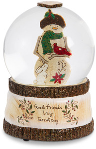 Good Friends by Heavenly Winter Woods - 100mm Musical  Water Globe