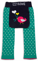 Aqua and Navy Birdie by Izzy & Owie - 6-12 Month Baby Leggings
