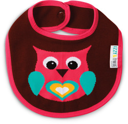 Pink and Brown Owl by Izzy & Owie - Baby Bib