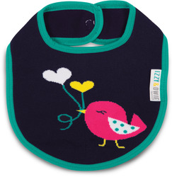 Aqua and Navy Birdie by Izzy & Owie - Baby Bib