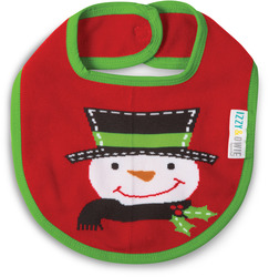 Red and Green Snowman by Izzy & Owie - Baby Bib