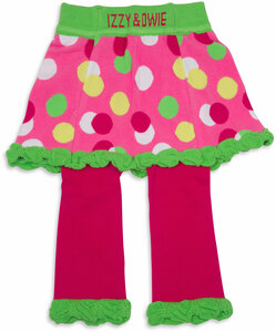 Lime Green and Pink Polka Dot by Izzy & Owie - 6-12 Months Skirted-Leggings