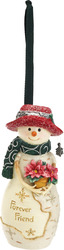 "Forever Friend by The Birchhearts - 4"" Snowman Orn. w/Poinsettia"