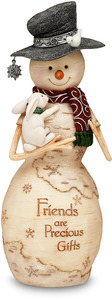 "Friends are Precious Gifts by The Birchhearts - 9"" Snowman with Bunny"