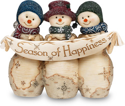 "Season of Happiness by The Birchhearts - 4"" Snowmen with Banner"