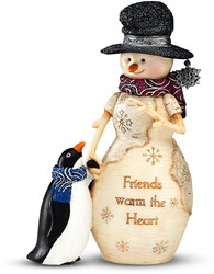 "Friends Warm the Heart by The Birchhearts - 5"" Snowman with Penguin"