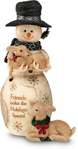 "Friends by The Birchhearts - 6.25"" Snowman with Fawns"