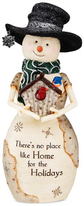 "Home for the Holidays by The Birchhearts - 7.5"" Snowman Holding Birdhouse"