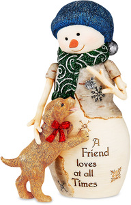 "Friendship by The Birchhearts - 5"" Snowman with Puppy"
