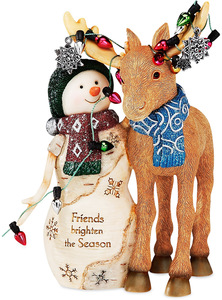 "Friends by The Birchhearts - 5.25"" Snowman with Moose"