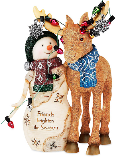 "Friends by The Birchhearts - Friends - 5.25"" Snowman with Moose"