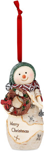 "Merry Christmas by The Birchhearts - 4.25"" Snowman Holding Wreath Ornament"