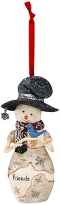 "Friend by The Birchhearts - 4.25"" Snowman Holding Bluebird Ornament"