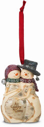 "A Great Joy is Coming by The Birchhearts - 4"" Expecting Snowmen Couple Ornament"