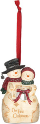 "Our First Christmas by The Birchhearts - 4"" Snowcouple Orn"