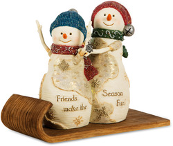 "Fun Friends by The Birchhearts - 4"" Snowmen on a Sled"