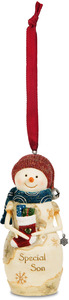 "Son by The Birchhearts - 4"" Snowman Holding a Stocking Ornament"