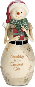 "Friendship  by The Birchhearts - 7.5"" Snowman Holding Gift"