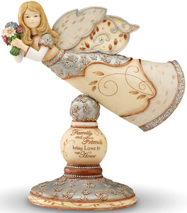 "Love to our Home by Elements - 6.5""Flying Angel on Pedestal"