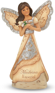 "Madrina by Elements - 6"" Hispanic Angel Holding Cross. Spanish/Latino Collection."