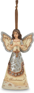 "Bendiciones by Elements - 4.5"" Hispanic Angel with Cross Ornament. Spanish/Latino Collection."