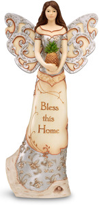 "Bless this Home by Elements - 12"" Angel Holding Pineapple"