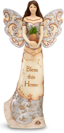 "Bless this Home by Elements - Bless this Home - 12"" Angel Holding Pineapple"