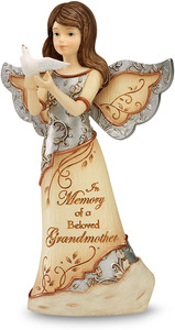 "Beloved Grandmother by Elements - 5"" Angel Holding Dove"