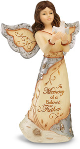 "Beloved Father by Elements - 5"" Angel Holding Dove"
