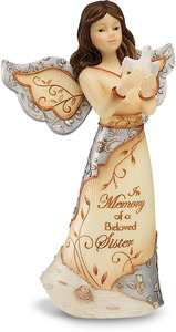 "Beloved Sister by Elements - 5"" Angel Holding Dove"