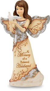 "Beloved Husband by Elements - 5"" Angel Holding Dove"
