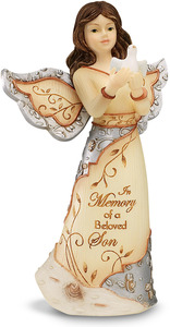 "Beloved Son by Elements - 5"" Angel Holding Dove"