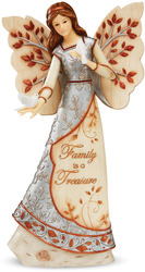 "Family is a Treasure by Elements - 9"" Angel Holding Doves"