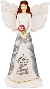 "Mother by Elements - 8"" Angel holding Flower"