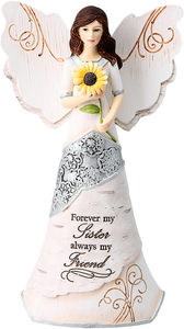 "Sister by Elements - 6.5"" Angel holding Sunflower"