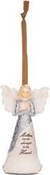 "Mother by Elements - 4.5"" Angel Holding Heart Ornament"